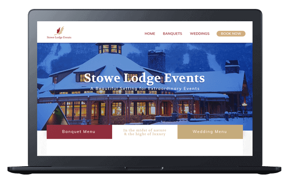 stowe lodge events website on laptop screen
