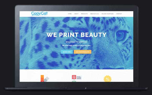 copycat printing website on laptop screen