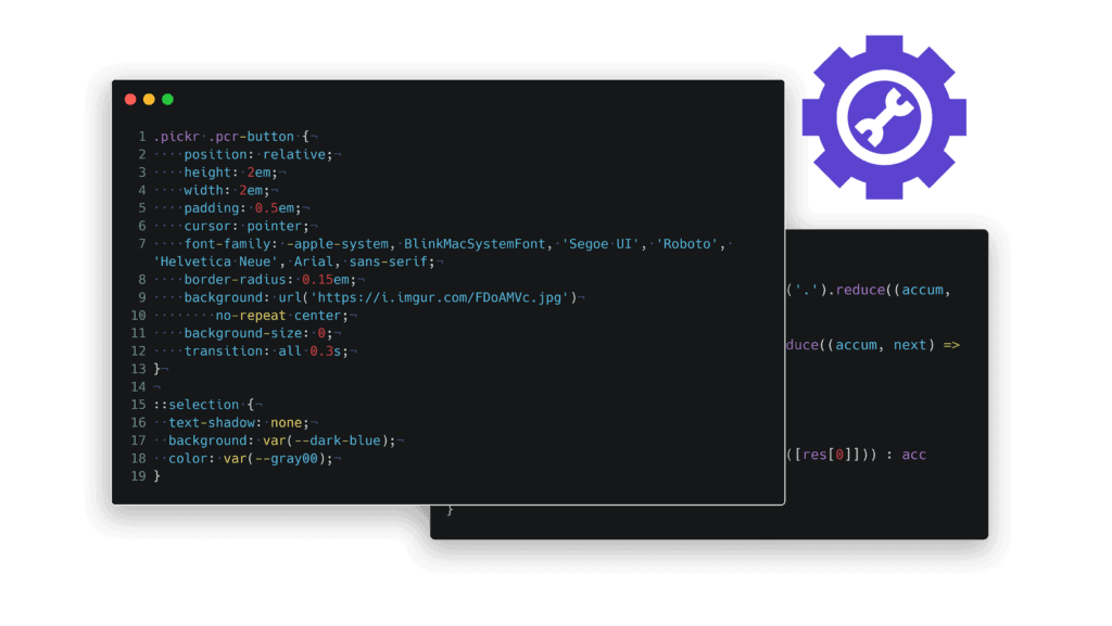 CSS code window mockup