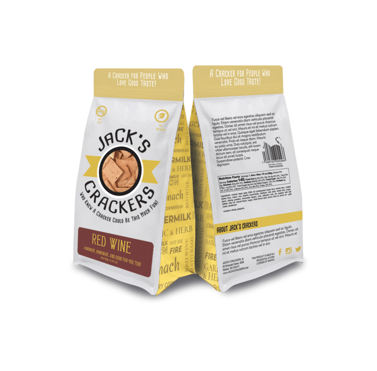 jacks crackers custom packaging design front and back