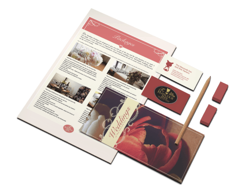 letterhead, business cards, and brochure for the hancock inn