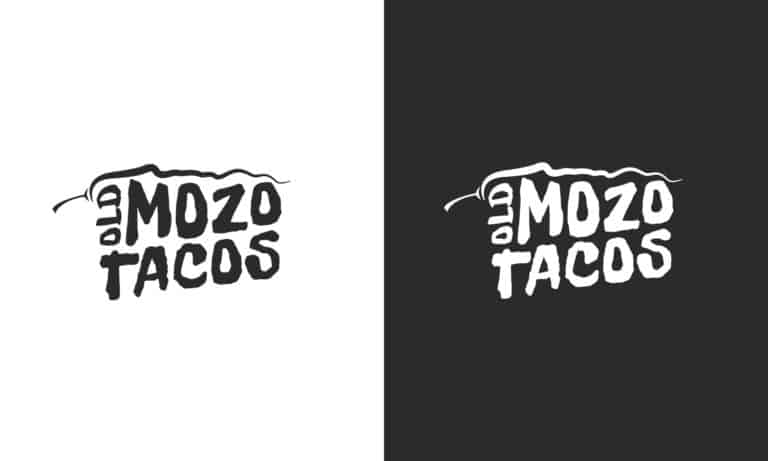 Old Mozo Tacos Logos in black and in white