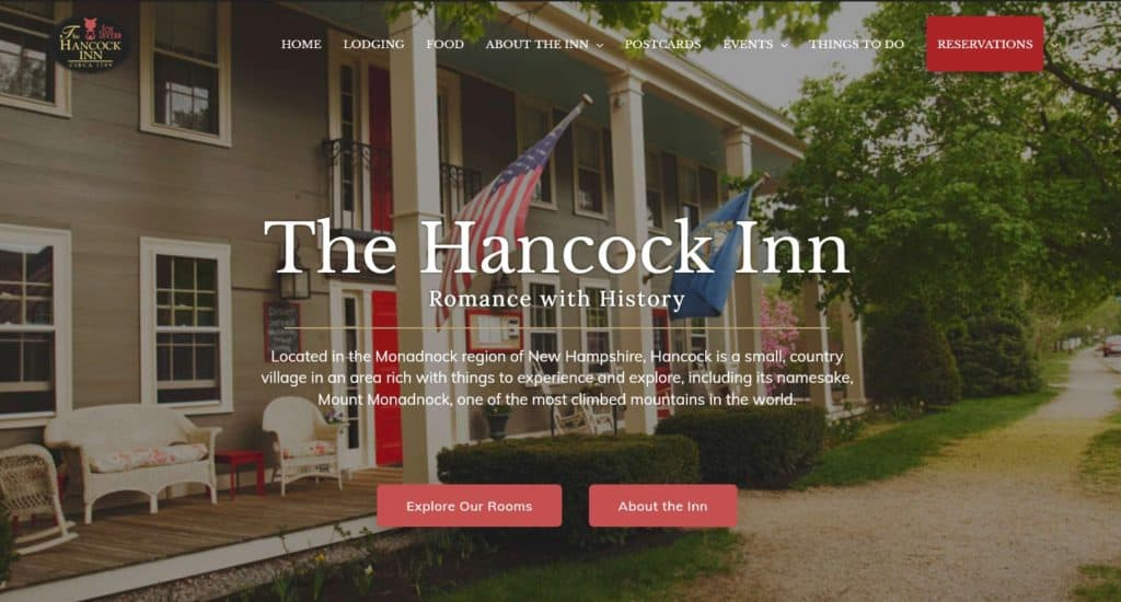 The Hancock Inn Website Hero