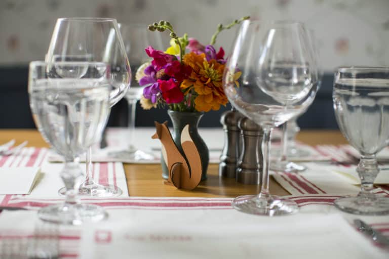 Fox Tavern Table Setting with Paper Fox