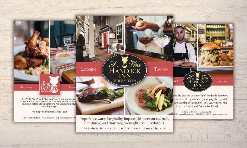 hancock inn and fox tavern print ad samples