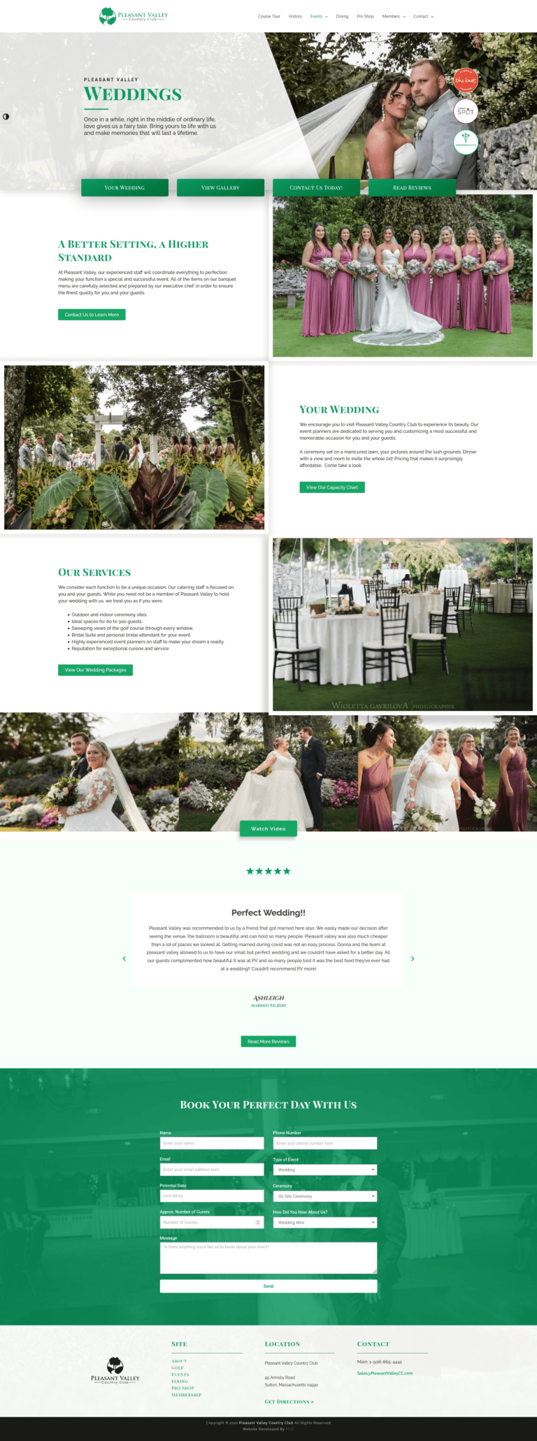 Pleasant Valley Weddings Interior Page