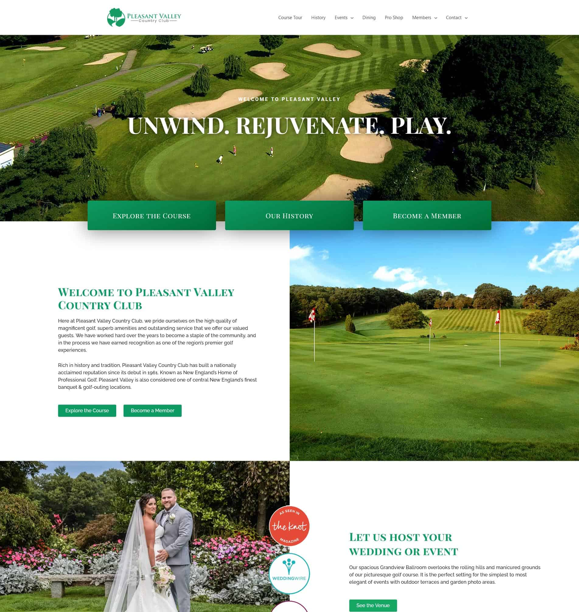pleasant valley website after redesign