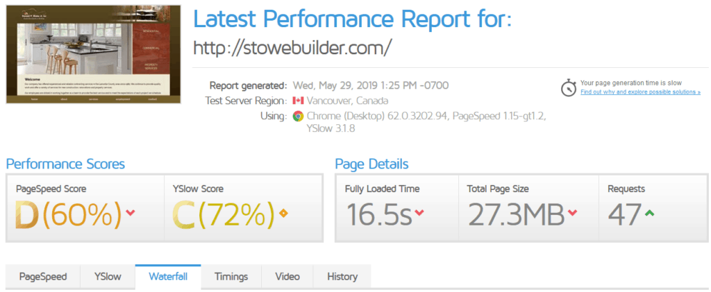 Stowe Builder Speed Report BEFORE