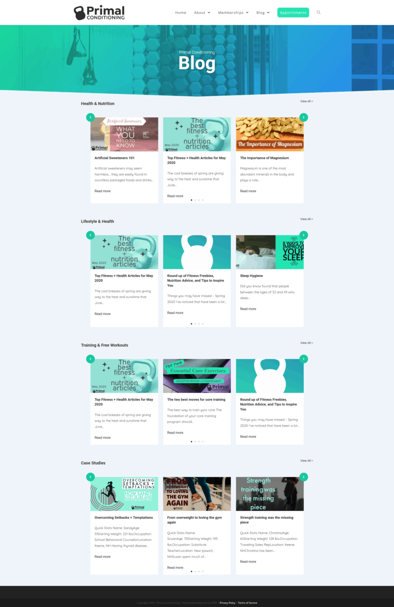 Redesigned blog post archive page