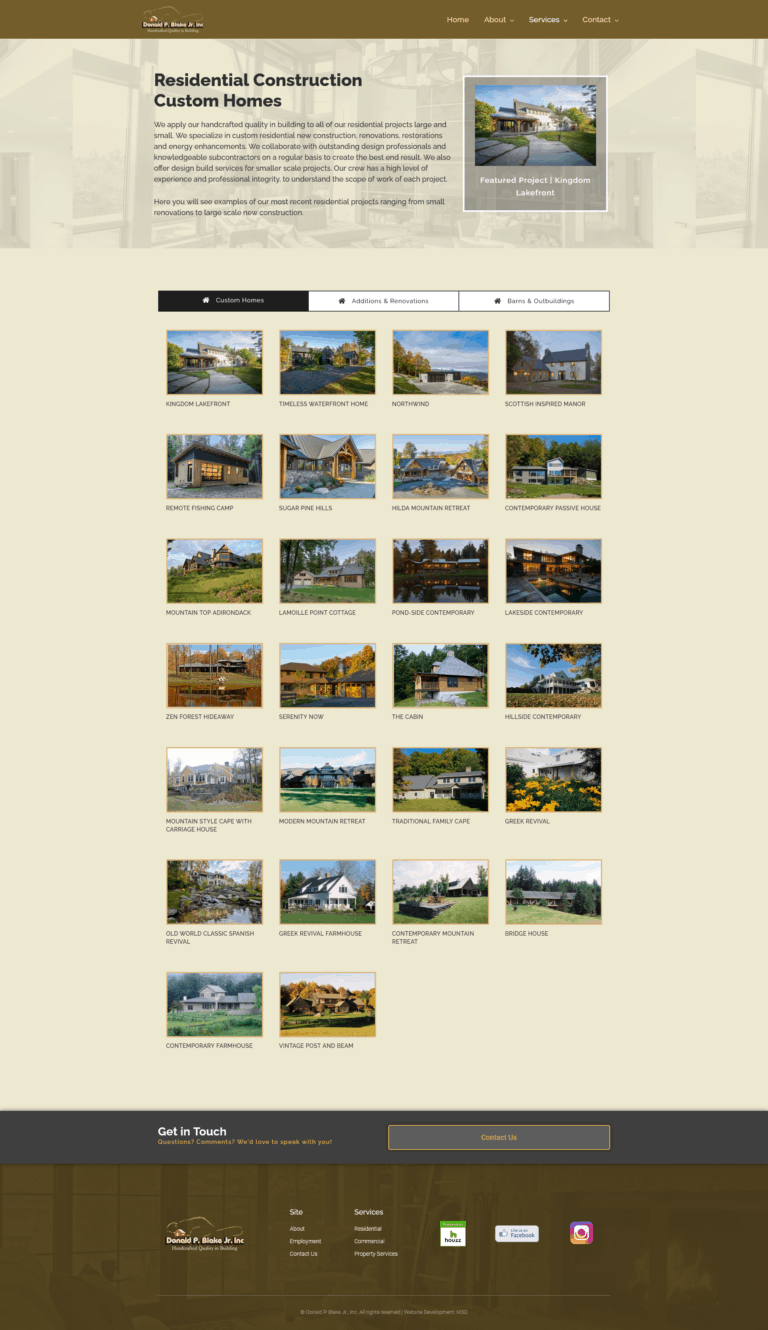 Stowe builders project archive page